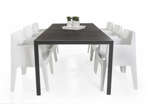 Jersey tafel 220 x 100 - 6x stapelbare Box stoel kunststof wit
